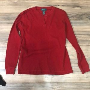 Ralph Lauren sz M red waffle knit thermal